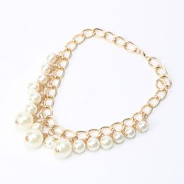 Wholesale Costume Jewelry Gold Chains - whole sale2017 Trendy Fashion Pearl Necklace Costume Imitation Pearl Jewelry Gold Color Chain Pendant Choker Statement Necklaces Women
