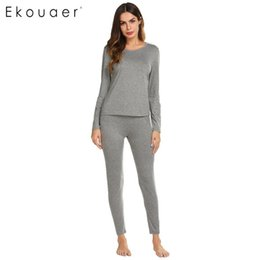 a611fba859 Ekouaer Women Pajama Nightwear Sets Casual O-Neck Solid Long Sleeve Tops  And Elastic Waist Pants Pajamas Set Female Sleepwear D18110502