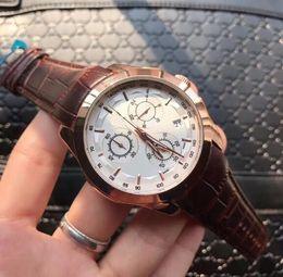 marchio kimio Sconti uomini del cronografo caldo marrone guardano il quarzo della porcellana 153 data L'alta qualità all'ingrosso di lusso di marca di modo nuovo Gli orologi degli uomini dell'acciaio inossidabile