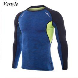 2019 chemises 3xl Vertvie Marque À Manches Longues T-shirts De Course Hommes Élastique Haute Chemise De Sport Patchwork Respirant Plus La Taille 3XL Layer Undershirts promotion chemises 3xl