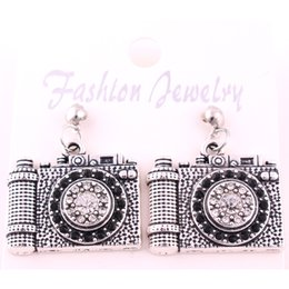 Wholesale vintage camera jewelry - 21mm*24.5mm High Quality Vintage Antique Silver Plated Zinc Studded With Sparkling Crystal Camera Pendant Jewelry Earrings