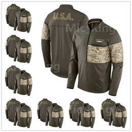 Wholesale Camping England - Men's Women Youth Los Angeles Miami Minnesota New England Orleans York Olive Salute to Service Sideline Hybrid Half-Zip Pullover Jacket