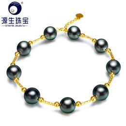 Auténticas perlas negras de tahiti online-[YS] Mejor regalo 8-9mm negro genuino perla de tahití 18k oro lujo pulseras de perlas negras