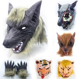 Маска для волков онлайн-Страшные маски Лев Волк Тигр голова Shaped маскарадная маска полное лицо маска призрак маска для Хэллоуин фестивали