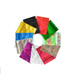 Bolsa autoadhesiva de aluminio online-100 pc / lot Bolsas autosellantes con bolsas de papel de aluminio autosellado bolsas de muestra aluminizadas para bolsas de mascarillas faciales envases cosméticos