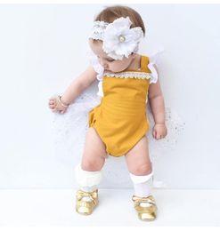 Wholesale flower news - 2018 european style news baby girl summer suspender jumpsuit newborn toddlers lace flower bodysuit for 0-24m