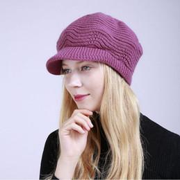 Chapéu de fio de pele de coelho on-line-Venda quente de inverno meninas de malha cap de pele de coelho cap repicado cap cashmere lã fio de algodão chapéu mulheres mesquinho brim chapéus headwear