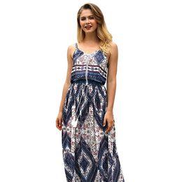 Argentina Verano nueva moda falda de playa sexy de las mujeres vestido de ajuste vintage sin espalda vacaciones arnés de impresión vestido largo para mujeres Suministro