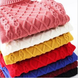 Wholesale Cheap Clothing Buttons - baby pullovers for children girls sweater boys red blue yellow black white 2015 winter turtleneck children's clothing cheap