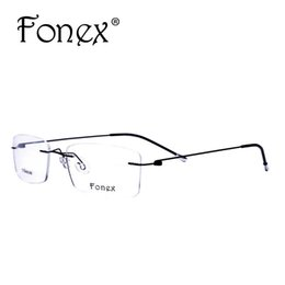 491f80a370 Wholesale- Fonex 2017 Fashion Titanium Myopia Rimless Glasses Memory Square Eyeglasses  Optical Frame Eyewear Men Women Brand Designer 9201