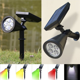landscape spotlights Promo Codes - New 4 LED Solar Lawn Solar Garden Lamp Spot Light Outdoor Lawn Landscape Spotlight Decoration Lamps