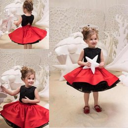 Wholesale two piece cute short dresses - Cute Two Pieces Of Little Girls' Pageant Dresses Black Lace Top And Red Satin Skirt Kids Formal Wear Birthday Dress Kids Dresses