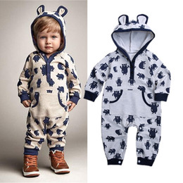 infants pajamas Coupons - Newborn baby boy animal hooded jumpsuit bear pajamas cute long sleeves autumn spring romper playsuit infant baby kid clothing rompers 0-24M