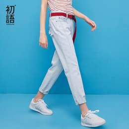2020 le donne blu chiaro allentano i jeans Toyouth Jeans donna 2018 Summer Fashion Light Blue Loose Harem Denim Pants Jeans boyfriend femminili le donne blu chiaro allentano i jeans economici