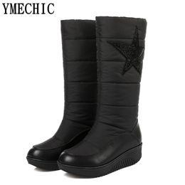235673368 YMECHIC Botas de invierno de cristal Plataforma de cuña femenina Zapatos de  piel de mujer Botas de nieve más gruesas de la señora de la felpa Blanco  Negro ...