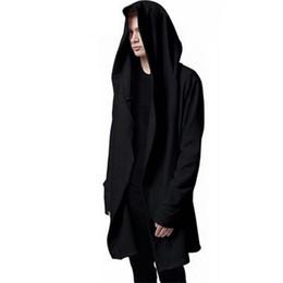 camisola preta do hoodie do casaco Desconto Homens Preto Manto Com Capuz Com Cordão Moletons Black Gown Manto Hoodies Moda Jaqueta Mangas Compridas Homem Solto Hoddies