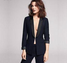 Wholesale Grey Bespoke Tuxedo - Navy 2 Pieces Bespoke Women Suits Satin Lapel Business Party Occasion Pants Suit Ladies Evening Tuxedos Intervies Wear B316