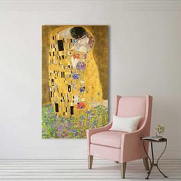 baciare dipinti ad olio Sconti Wang Art golden Kiss Gustav Klimt dipinti Riproduzione su tela a olio stampata bella donna opere d'arte Immagine della parete