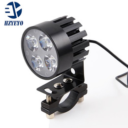 Wholesale bike kits - HZYEYO 2pcs lot Electric Motor Bike Motorcycle 12W 4 LED Auxiliary Headlight Work Driving Fog Spot Night Safe Lamp Universal L-805