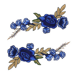 Wholesale Patches Flower Clothing - 2pcs Set Deep Blue Applique Embroidery Flower Patches for Clothing Droppshipping Patches Sticker for Clothing Sewing LQW0615