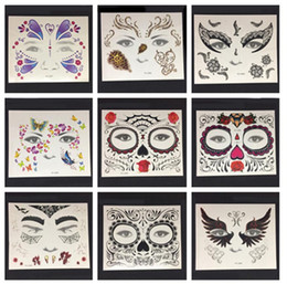 Wholesale lips temporary tattoo sticker - Face Eye tattoo Temporary Tattoo Sticker Waterproof Self Adhesive Paste Halloween Costume Cosplay Party Makeup Body Art
