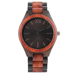 Wholesale Hand Made Bracelets For Men - Full Wood Watch for Men High Quality Hand-made Wooden Case Stylish Dark Brown Blue Design Dial Bracelet Clasp Unique Wristwatches Man's Gift
