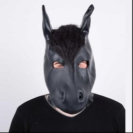 Máscara boca olhos on-line-Top Grade Latex Fetish Mask Rubber Hood Mask-Open Mouth and Pinhole Eyes Adults Sexy Party Cosplay Mask adults Horse Mask toys