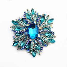 Tschechische brosche online-Sparkly Blue Strass Diamante Tschechische Filigrane Blume Brosche