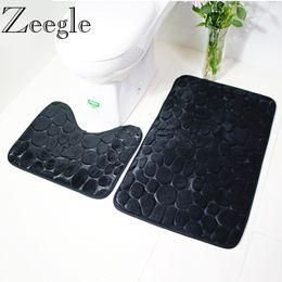 Wholesale mat memory - Zeegle 3D Stone 2pcs set Bathroom Mat Anti-Slip Bathroom Floor Mats Memory Foam Bath Mat Absorbent Bathroom Carpet Bathtub Mat