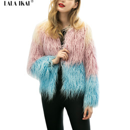 Wholesale women hooded fur coat xxl - Long Furry Winter Fur Coat Ladies Plus Size XXL XXXL Faux Fur Coats Women Elegant Hit Color Warm Long Sleeve Outwears SWQ0239-4