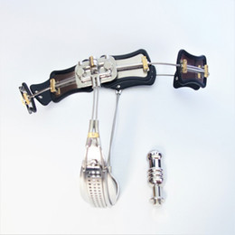 Wholesale newest chastity devices - Newest Lock Design Female Chastity Belt Stainless Steel Adjustable Chastity Device with Vagina Plug BDSM Bondage Sex Toys For Woman