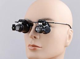 2019 óculos de óculos iluminados ampliados LED 10X Magnifier Óculos de olho dupla lupa Lupa de lupa - Jeweler Watch Repair Lupa Iluminação LED Lente de lupa leve óculos de óculos iluminados ampliados barato