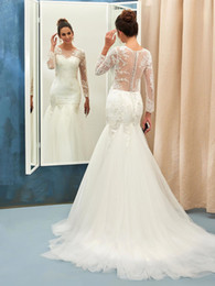 Wholesale Thigh Highs Online - Free shipping Online Trumpet Mermaid Scoop Neck Tulle Sweep Train Appliques Lace Long Sleeve Wedding Dresses beaded wedding gowns