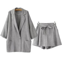 grey suits for women Coupons - Luxury Designer Blazer Suits for Women Loose Single Button Notched Linen Blazer and Elastic Waist Shorts Grey Set