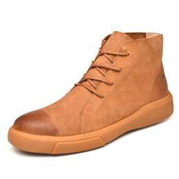2018 Nouveaux Hommes Bottes En Cuir De Fourrure D'hiver Chaussures Intérieures Pour Hommes Chaud Bottes Casual Chaussures De Cheville De La Cheville De Neige Botas Lace Up Plus La Taille 38-47 ? partir de fabricateur