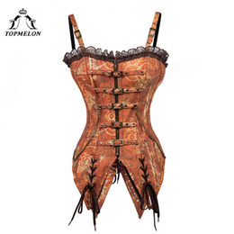 sexy gear Promo Codes - TOPMELON Retro Bustier Steampunk Tan Corset Women Gothic Corsets and Bustiers with Strap Corselet Buckle Gears Pattern Long Tops
