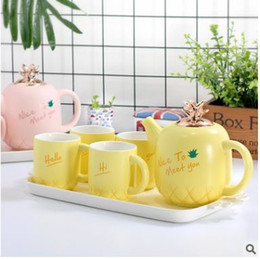 Wholesale European Tea Coffee Sets - Simple European style lovely Ceramic Teapot Tea tea pineapple home living room six suit bone china coffee cup