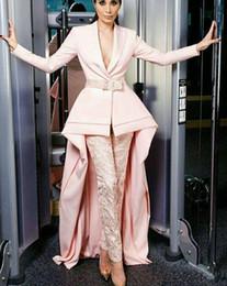 pantalones largos faldas moda Rebajas 2019 Nueva Moda Vestidos de baile Falda con pantalones Pink Special manga larga Corte Tren Diseño Vestidos formales vestidos de novia 006