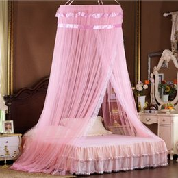 Wholesale Net Canopies - Vieeoease Bed Canopy Bed Curtain Round Dome Hanging Mosquito Net Tent Curtain Moustiquaire Zanzariera Lace Playing Home Klamboe EE-241