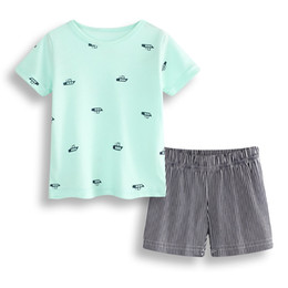Wholesale Infants Tracksuits Boys - Boats Baby Clothes Set 100% Cotton Newborn T-Shirts Stripe Pant Babies Boys Clothing 2-Pieces Suit Outfit Infant Sport Suit 0-2Y Tracksuits