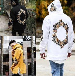 Wholesale Hooded Sweatshirt Black - New Design Flower Embroidery Hoodies Men Hip Hop Side Split hoody Sweatshirts Hooded Pullover long sleeve Jumper tops