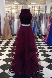 Wholesale velvet dresses for girls - 2018 Simple Wine Red Two Piece Prom Dress Ruched Tulle Velvet Jewel Neck Long Cheap For Girls Pleated Dresses Evening Wear Formal Gowns