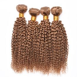 tessuto biondo biondo ombre Sconti 4 pezzi Capelli Bundles riccio crespo 27 # Blonde di miele brasiliana peruviana Virgin malese ricci capelli umani tesse Extension Offerte
