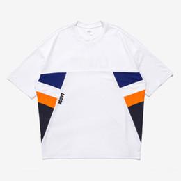 Wholesale Large Tee Shirt Men - T shirt Men LARGE Print Oversize Short sleeved T-shirt Mesh Patchwork Fashion High Street Men's Tops Breathable tee