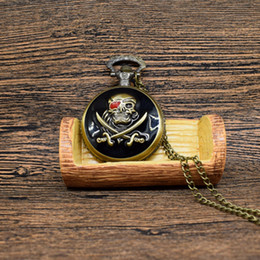 Wholesale skull watch necklace - Retro Bronze Skull Pirate Quartz Pocket Watch With Necklace Chain Best Gift To Men Women