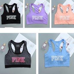 Wholesale Sexy Workout Wear - PINK Letter Women Sport Yoga Bra Running Sports Bras Short Shirts Gym Workout Vest Push Up Fitness Crop Tops Sexy Underwear Summer wear 2018