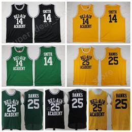 телевидение Скидка OF The Fresh Prince TV 14 Джерси Уилла Смита BEL-AIR BEL AIR Академия баскетбола 25 Трикотажные изделия Carlton Banks Желтый Черный Зеленый Одежда колледжа