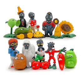 2019 pc miniatura 16 pz / lotto Zombies Cartoon PVZ Modelli di gioco Figurine in miniatura Giocattoli animali per piante da bambino Decorazioni da giardino Home Decor Ornament pc miniatura economici