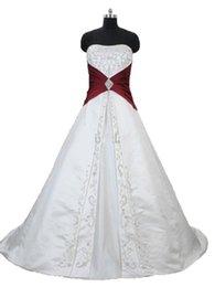 2018 Sexy белый и красный вышивка-Line свадебные платья с атласной зашнуровать плюс размер свадебные платья Vestido де Novia BA06 от