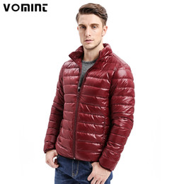 short fitted down jacket Coupons - Vomint 2017 Winter Men Down Jacket Smart Casual Solid Color Light Weight Slim Fit Warm 80% Down Coat Stand Collar Male O6RI9071